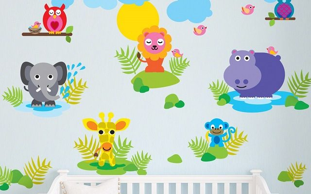 Veselé samolepící dekorace do dětského pokoje 1