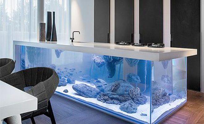 Kuchyňský pult jako obrovské akvárium 1